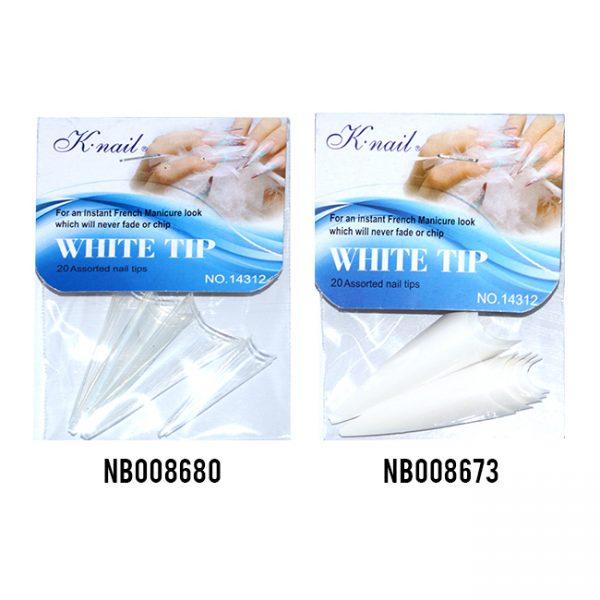Nb K.Nail Salon Nail Tip Stiletto Blanco/ Transp.